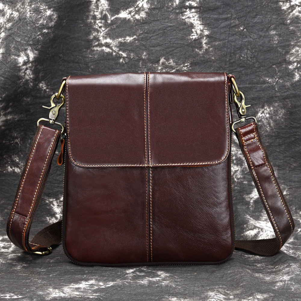 1PCS   Authentic Leather Cowhide, Oil And Wax, Business, Single-shoulder, Single-shoulder, Leather, Men's Leather, Leather,