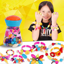 Bottled 200pcs DIY Pop Beads Necklace and Bracelet Snap-Together Jewelry Accessories Crafts Art Fashion Toy for Girl Gift(China)