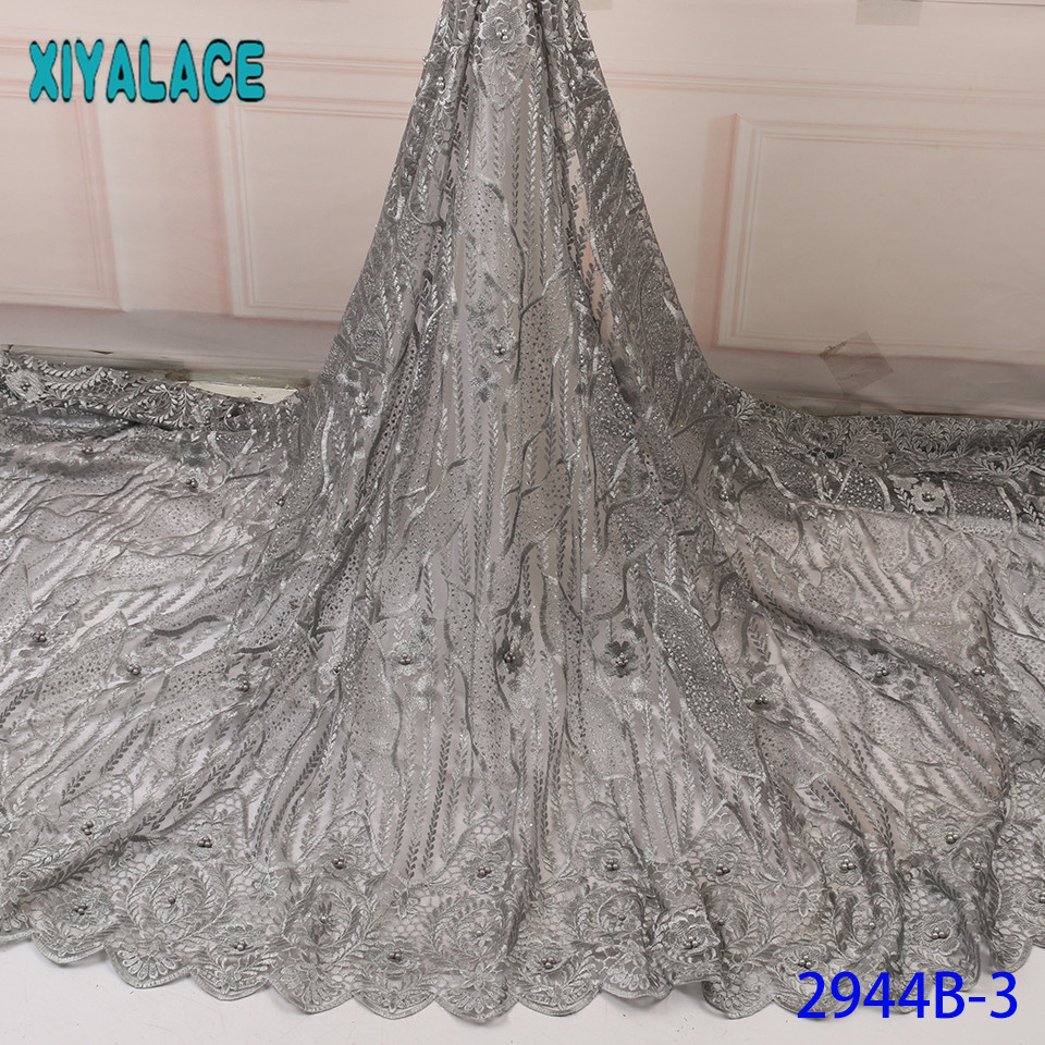 French Net Lace With Beads,New African Fabrics Lace,High Quality Embroidered Tulle Fabric For Women Dresses KS2944B-3