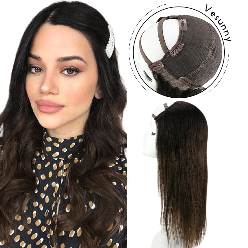 Vesunny Human Hair Half Wig  Ombre Color Off Black to Dark Brown Half Wig Remy Human Hair Clip in U Part Medium Cap T1b/4