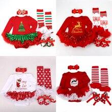 2020 عيد الميلاد الطفل ازياء رومبير فستان سانتا كلوز تأثيري ملابس الحفلات Bebes بذلة الوليد الطفل الفتيات الملابس