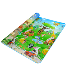 Детский ковер с двойной поверхностью, толстый коврик для ползания 200*180*0,5 см, развивающий коврик для детей с изображением машины и динозавра