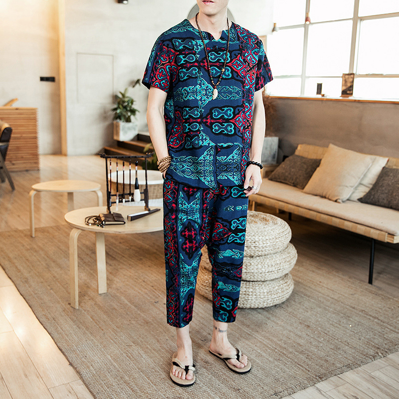 2019 Summer New Style Chinese-style Cotton Linen Printing Short-sleeved T-shirt Large Size Loose-Fit Two-Piece Set Leisure Suit