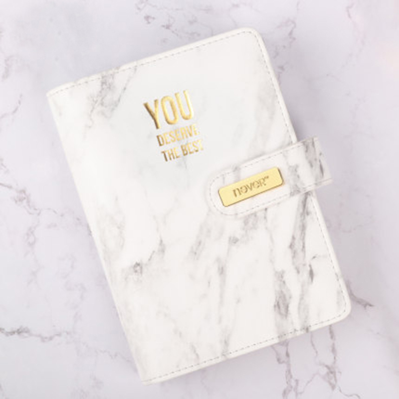 marble Grain PU Loose-leaf spiral Office Notebook Planner Diary Golden 6 holes ring binder Notepad Double buckle design Gift Box