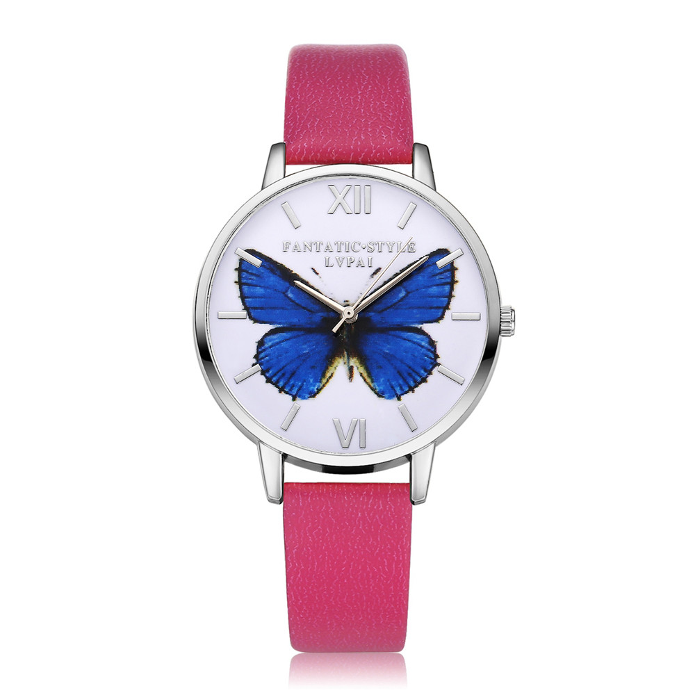 Women Quartz Watch Mysterious Style Dull Blue Butterfly Patternmulticolour Band Montres Femmes часы женские Dames Horloge