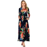 Autumn Dresses Plus Size Women Clothing Fall 2019 XL 6XL Bohemian Floral Print O Neck Slim Long Elegant Dress Vintage Midi Dress
