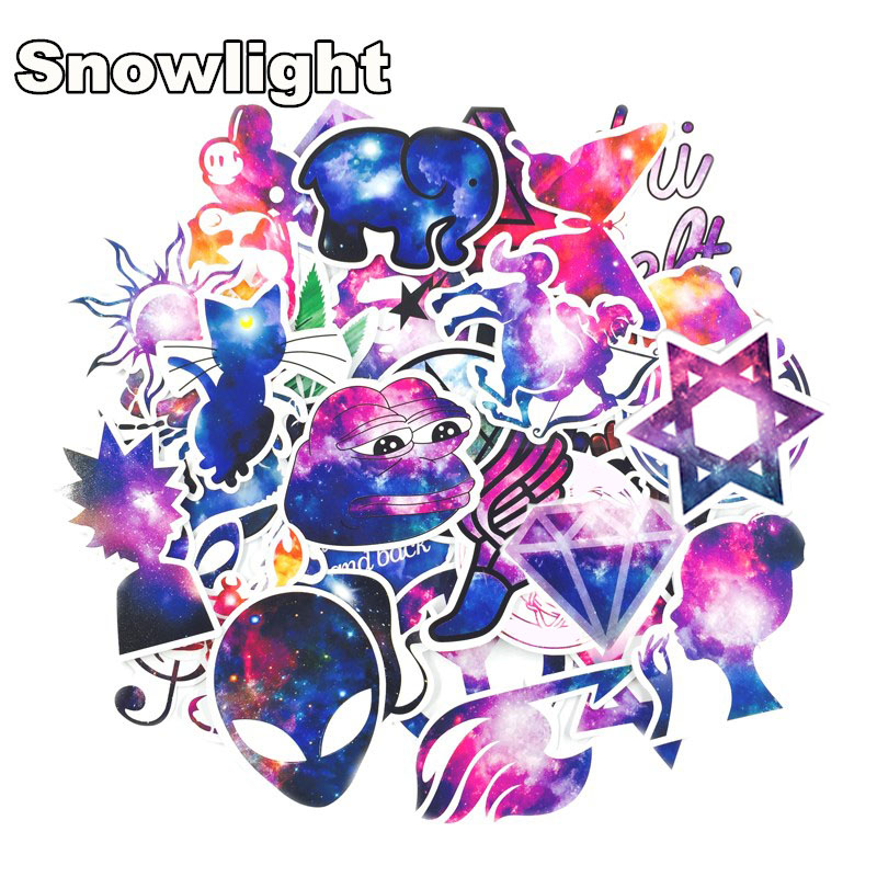 10/35pcs/lot Galaxy Color Waterproof Sticker For Car Laptop Trunk Skateboard Guitar Bicycle Decal car-styling Toy Stickers
