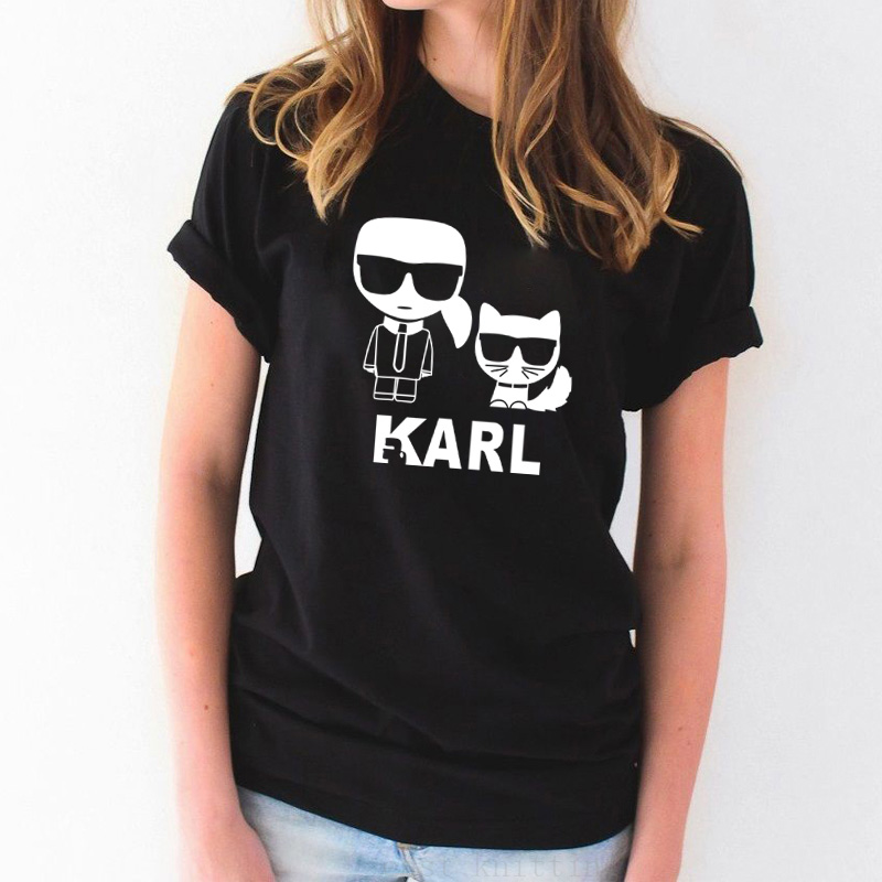 FIXSYS Karl Print Women Tops Tee Summer Short Sleeve Round Neck T-shirt Casual Loose Female Tops T-shirt S-2XL