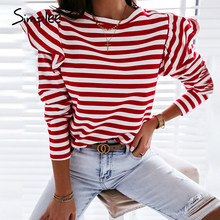 Simplee Causal de manga larga rojo blanco rayas Mujer Tops para Otoño Invierno Ruffled Base camisa 2020 Streetwear o-cuello mujeres Tops
