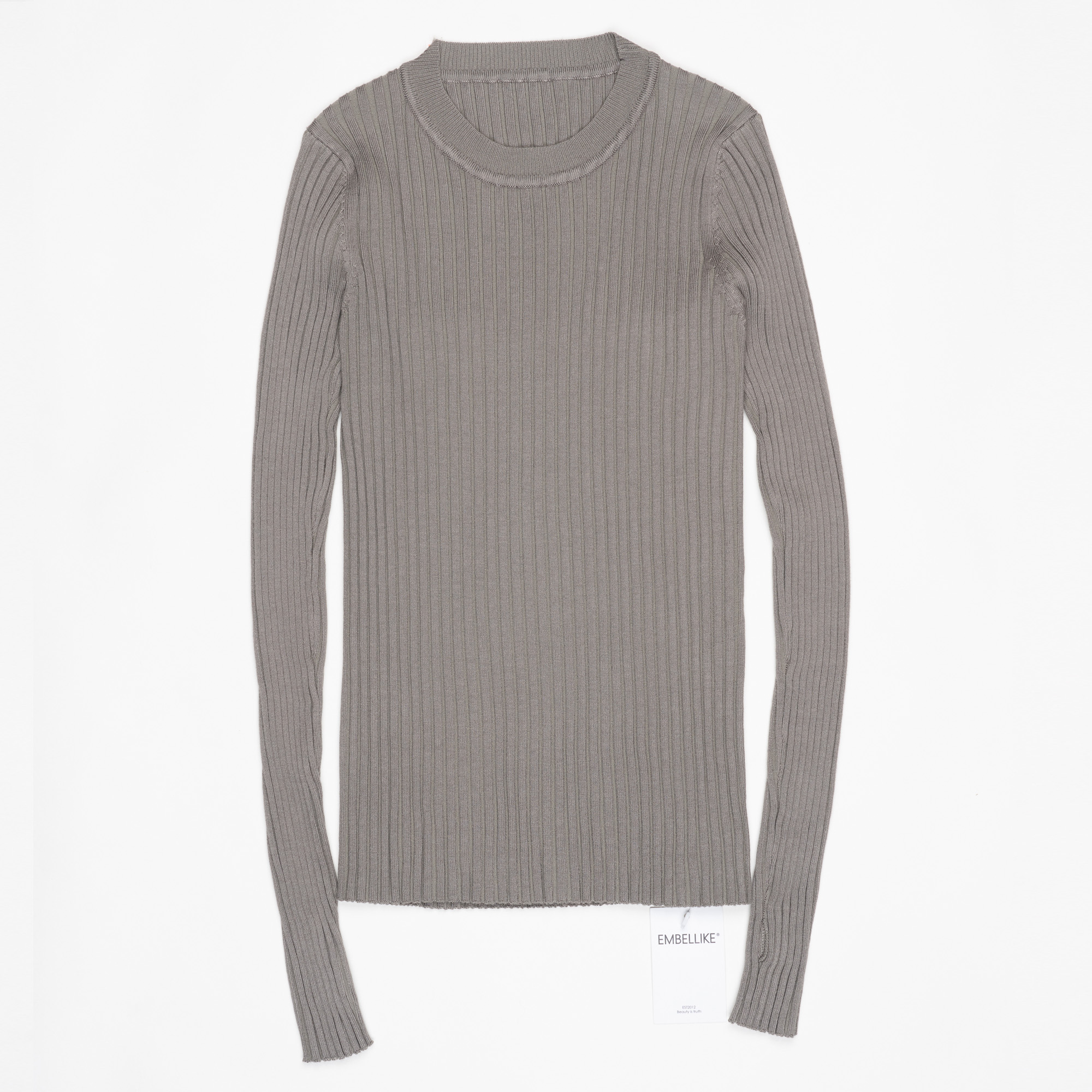 Women Sweater Pullover Basic Ribbed Sweaters Cotton Tops Knitted Solid Crew Neck With Thumb Hole 24