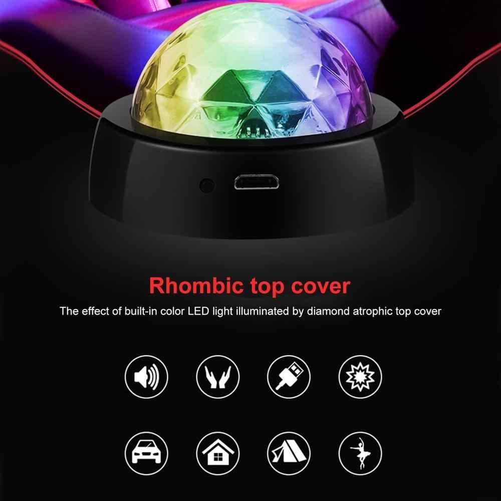 LED USB Atmosfera Dell'automobile di Controllo del Suono Della Luce Magica di Cristallo Della Sfera Della Discoteca Lampada RGB Colorato di Musica Suono Luce del DJ DELLA Luce