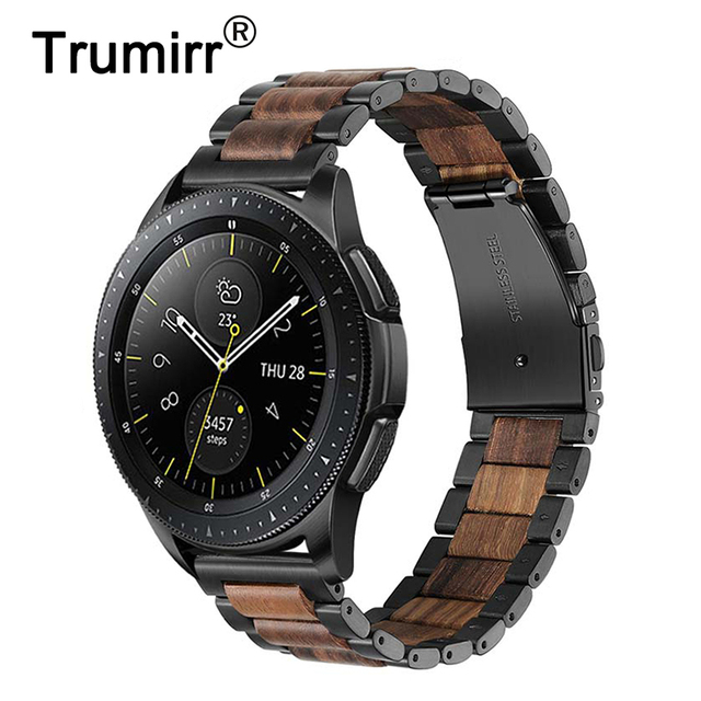 Natural Wood & Stainless Steel Watchband + Link Remover for Samsung Galaxy Watch 42mm 46mm SM R810/R800 Quick Release Strap Band