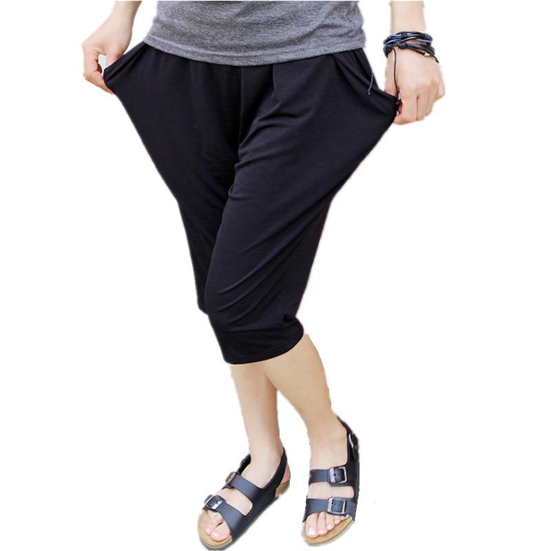 Harem Pants Women's Summer Large Size Elastic Waist Big Pocket Bermuda Breeches Plus Size 5x 6xl Loose Mom Capris Trousers