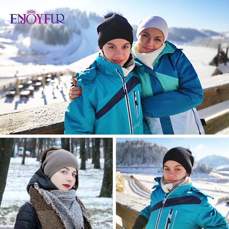 ENJOYFUR Winter women real fur pom pom hats wool knitted thick warm lined beanies hat lady fashion bobble ski caps 3
