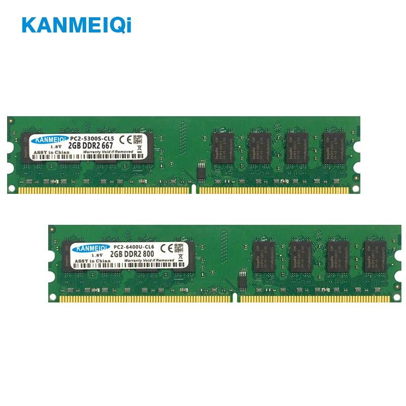 KANMEIQi DDR2 Ram 4gb(2pcs*2GB) 667MHz 800MHz Non Ecc Memory Desktop 1.8V Dimm New
