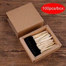100pcs Bamboo Handle Disposable Eyelash Brush Makeup Brush Eyelash Extension Wan