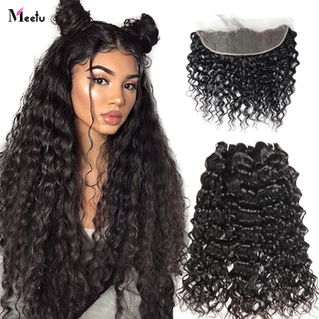 Meetu Peruvian Water Wave Bundles with Frontal 3 Bundles with 13X4 Frontal 100%Human Hair 4x4 Lace Closure with Bundles image