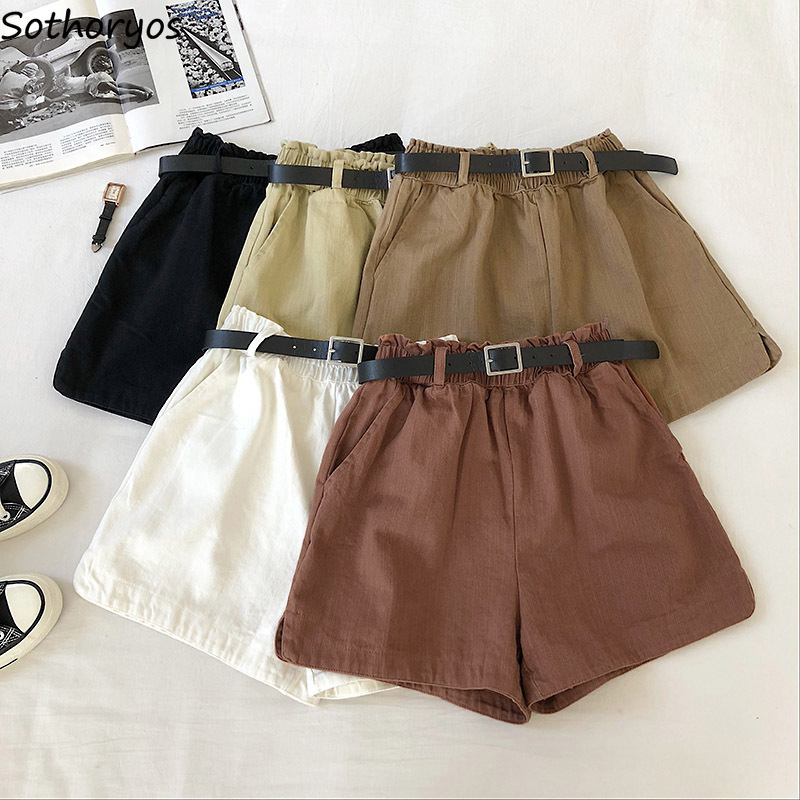 Shorts Women Spring Sashes Elastic-waist Solid Wide-leg Loose Pockets Students Trendy Casual Korean Style Womens Elegant Retro