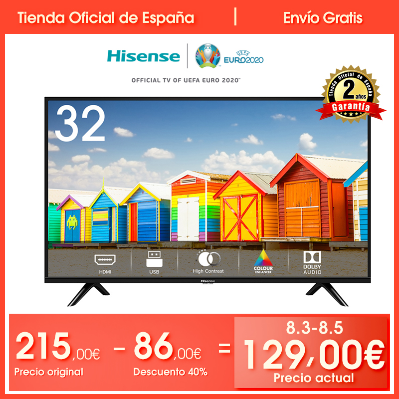 HISENSE H32B5100 TV LED <font><b>32</b></font>'' HD(1366*<font><b>768</b></font>), 2 HDMI, 1 USB, Salida Óptica, Audio DD+, Negro, Dolby image