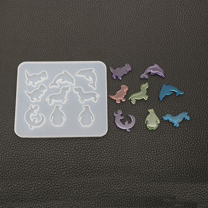 Resin Silicone Molds Pendant Making DIY Crystal Epoxy Mold Small Dinosaur Dolphin Earrings Mould  H8WF