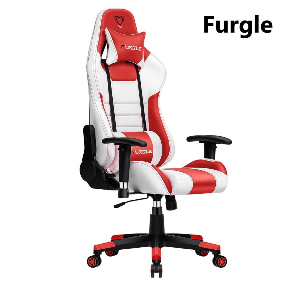 Furgle Computer Chair Play for WCG Gaming Chair Office Chair Leather Gaming Chair Engineering Chair Red&White for home/Cafe/Game