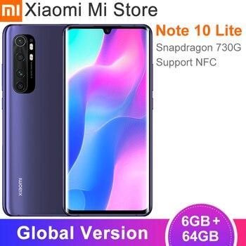 Глобальная версия Xiaomi Mi Note10 Lite, мобильный телефон 6 ГБ 64 ГБ, Snapdragon 730G, 64