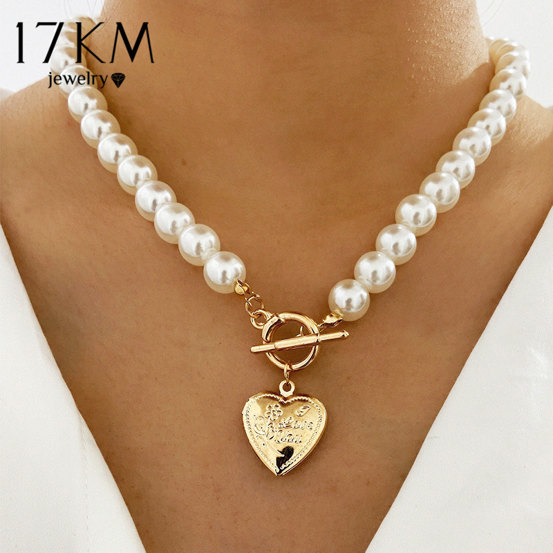 17KM Vintage Wedding Pearl Choker Necklace For Women Geometric Heart Coin Lock Pendant Necklaces Jewelry collier de perles