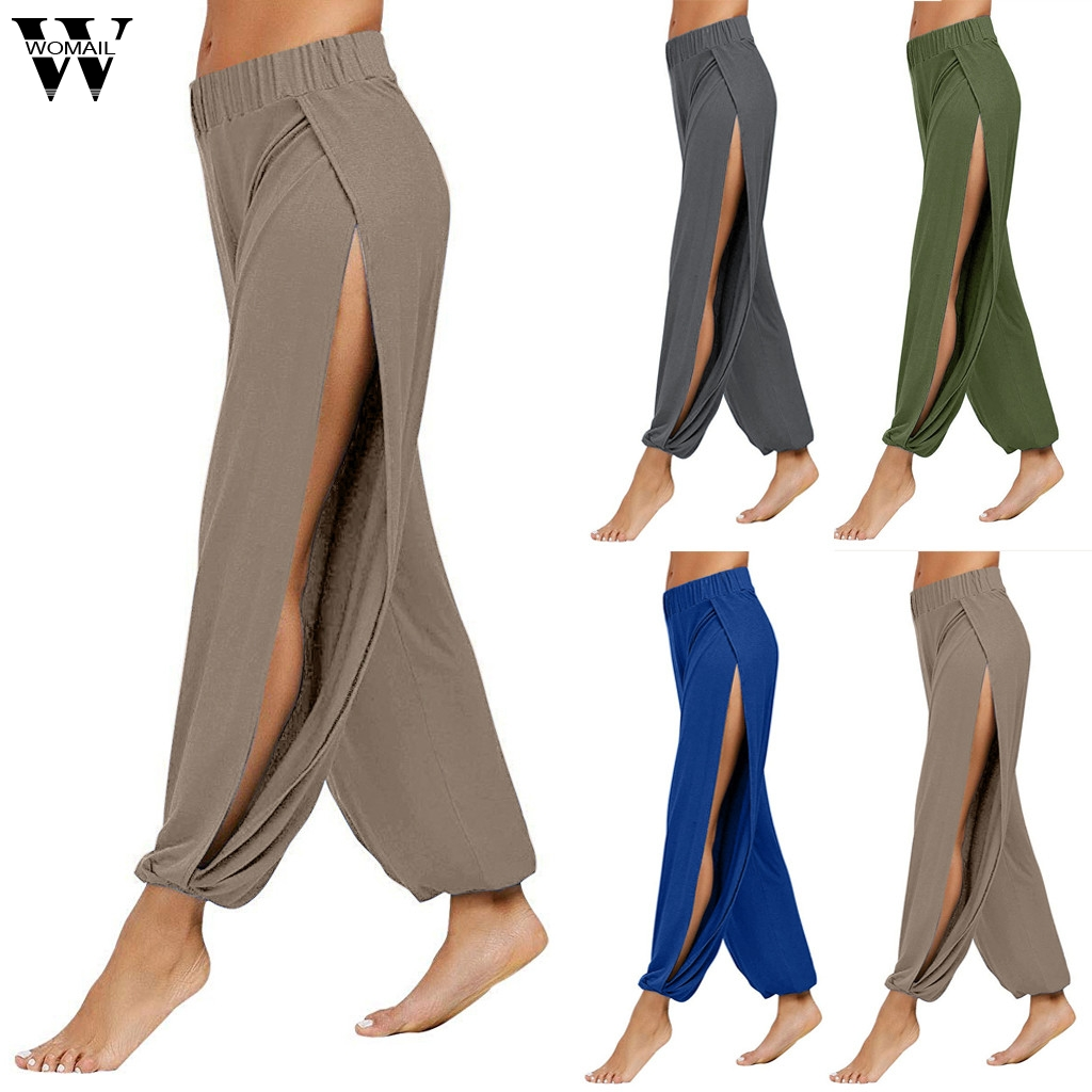 Womail Women Pants capris 2019 High Waist Wide Leg Pants Casual Loose Full Length Pants Fitness Sports Baggy Korean Style J724