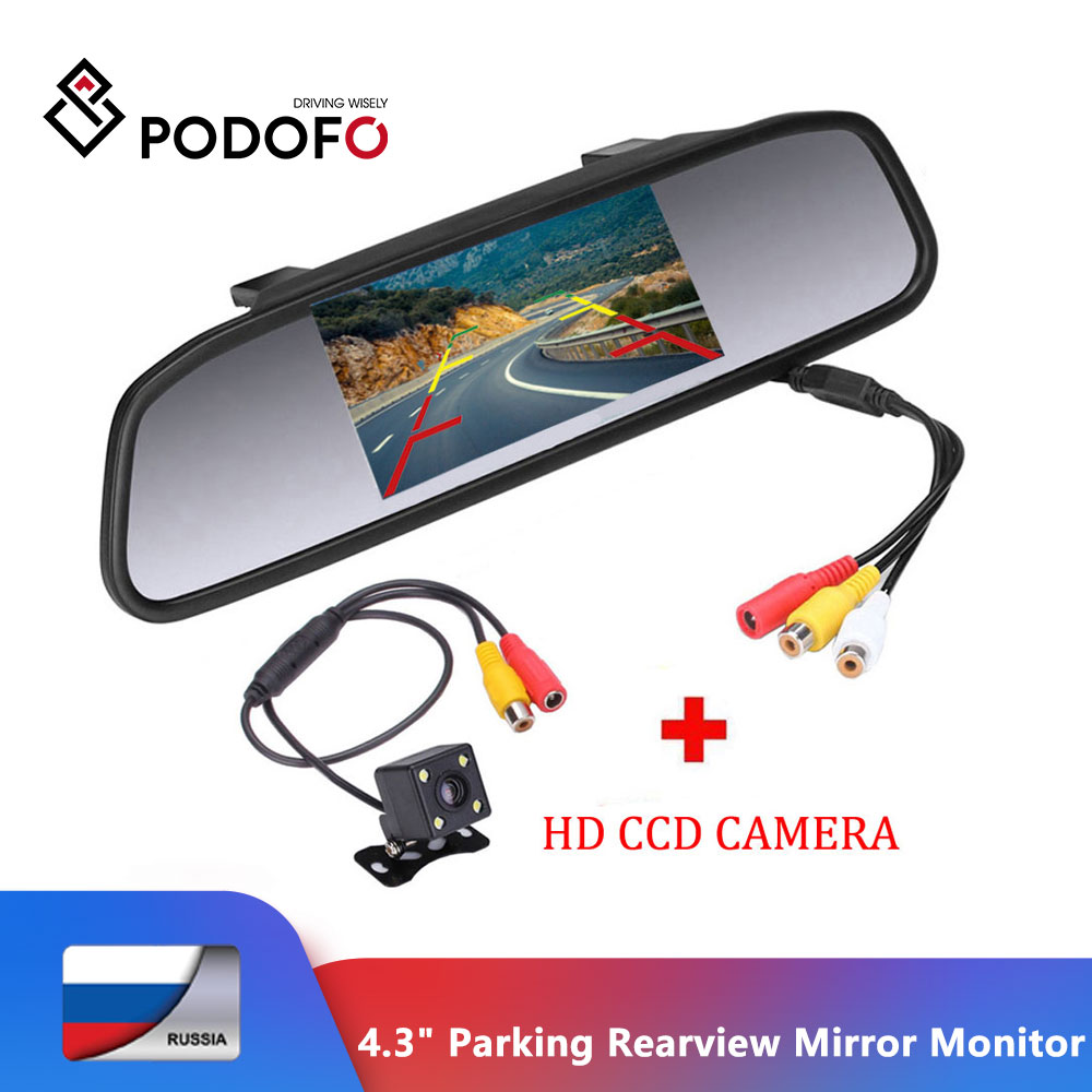Podofo 4 3inch TFT LCD Car Parking Rearview Mirror Monitor 2 Video Input For Rear View Camera LED Night Vision Reverse Auto Camera