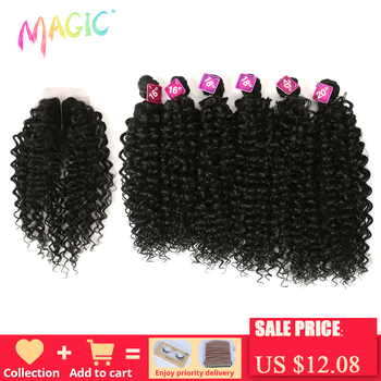 Magic Afro Kinky Curly Hair Synthetic Weave 16-20 inch 7Pieces/lot Bundles With Closure African lace For Women hair Extens
