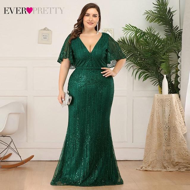 Plus Size Sparkle Prom Dresses Ever Pretty EP00838 Seuqined Ruffles Sleeve V-Neck Elegant Mermaid Pary Gowns Vestidos De Gala 1