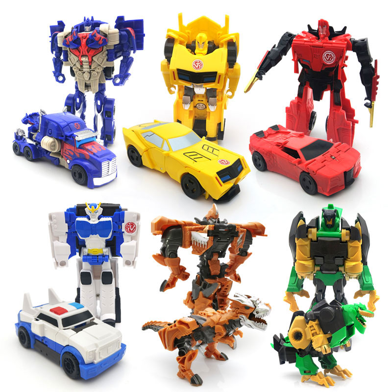 Kids Toys Mini Cars Easy Model Plastic Friction Vehicles Transformation Robot Figures Car For Boys Children Birthday Gift No Box