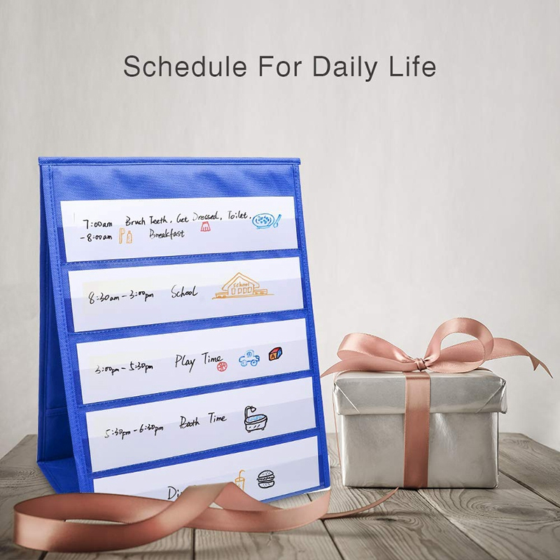 Tabletop Desktop Pocket Chart Table Top With Bonus 20X Dry Erase Cards,Desktop Tabletop Teaching Pocket Chart Double Sided And S