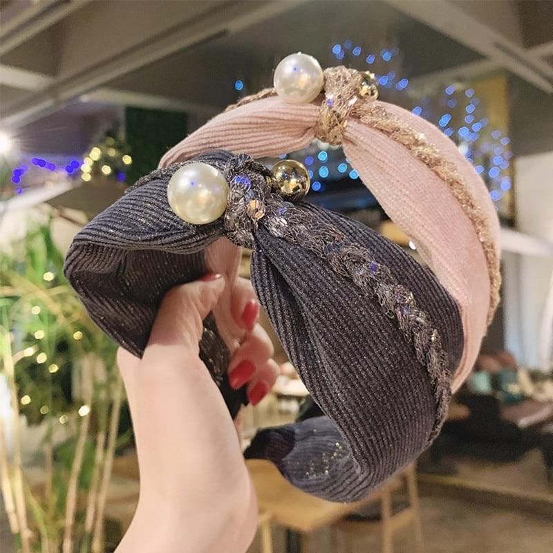 Повязка на голову женская с большим жемчугом, модный широкий обруч ручной работы из бронзовой ткани, с узлом, из бутика, льняные аксессуары д...