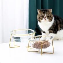 Новые Нескользящие чаши для кошек очки одинарные с золотой подставкой