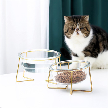 New Non-slip Cat Bowls Glasses Single with Gold Stand Pet Food&Water for Cats Dogs Feeders Products Bowl