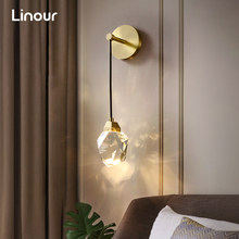 Modern LED Wall Lights for Living Room Crystal Hanging Wall Lamp Bedroom Bedside Lamps Gold Wall Sconce Indoor Decor Lighting