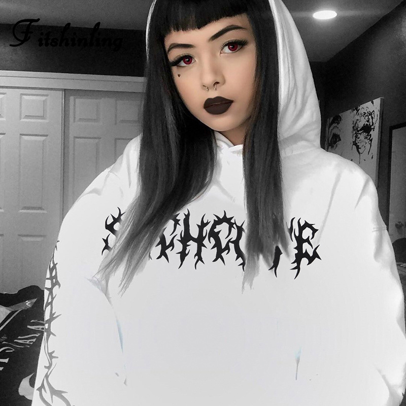 Fitshinling Grunge Punk Winter Hoodies For Women Goth Dark BF Style White Long Hoody Harajuku Loose Hooded Sweatshirt Female New