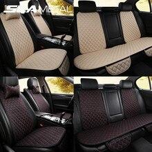 Fundas de lino para asiento de coche, con almohadas para el cuello, Cojín para Sillas delanteras y traseras, Protector de lino para Interior, Universal para vehículos