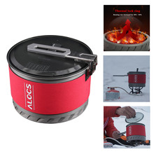 Outdoor Heat Exchange Camping Cooking Pot Cookware Folding Handle For Hike Backpack Picnic Campfire Hanging Pot outdoor picnic stainless steel hand bill of lading handle bento pot hiking pot camping barbecue cooking cookware picnic cookers