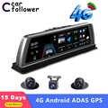 10 Polegada 4g adas android painel do carro dvr gps navegação fhd 1080 p lente dupla câmera traço g sensor gravador de câmera do carro wifi