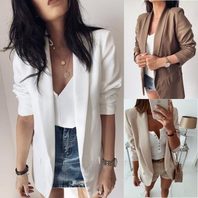 Women Autumn Thin Blazer Feminino Long Sleeve Pockets Slim Blazers And Jackets Business Work Blaser