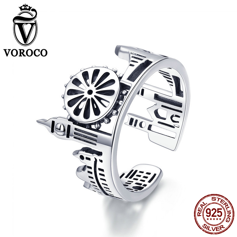 VOROCO 2019 Real 925 Sterling Silver Vintage London City Rings For Women Fashion Party Wedding Luxury Fine Jewelry Gift BKR474