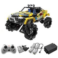 Şehir 1030 adet uzaktan kumanda sürüklenme Off-Road araç yapı taşları RC araba tuğla Mecanum tekerlekler çocuk oyuncakları çocuklar hediyeler