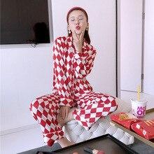 Lisacmvpnel ekose baskı uzun kollu kadın pijama seti saten yumuşak pijama