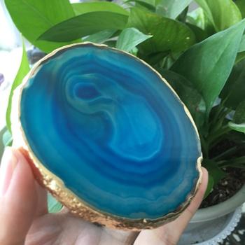 1 sztuk naturalne agat Geode kawałek izolowane podstawki kryształ płyta jade agat podstawki z złoty galwanicznie koronki mineralnych wykończenia tanie i dobre opinie ACSDVOCATE Europejska Kamień FENG SHUI LOVE