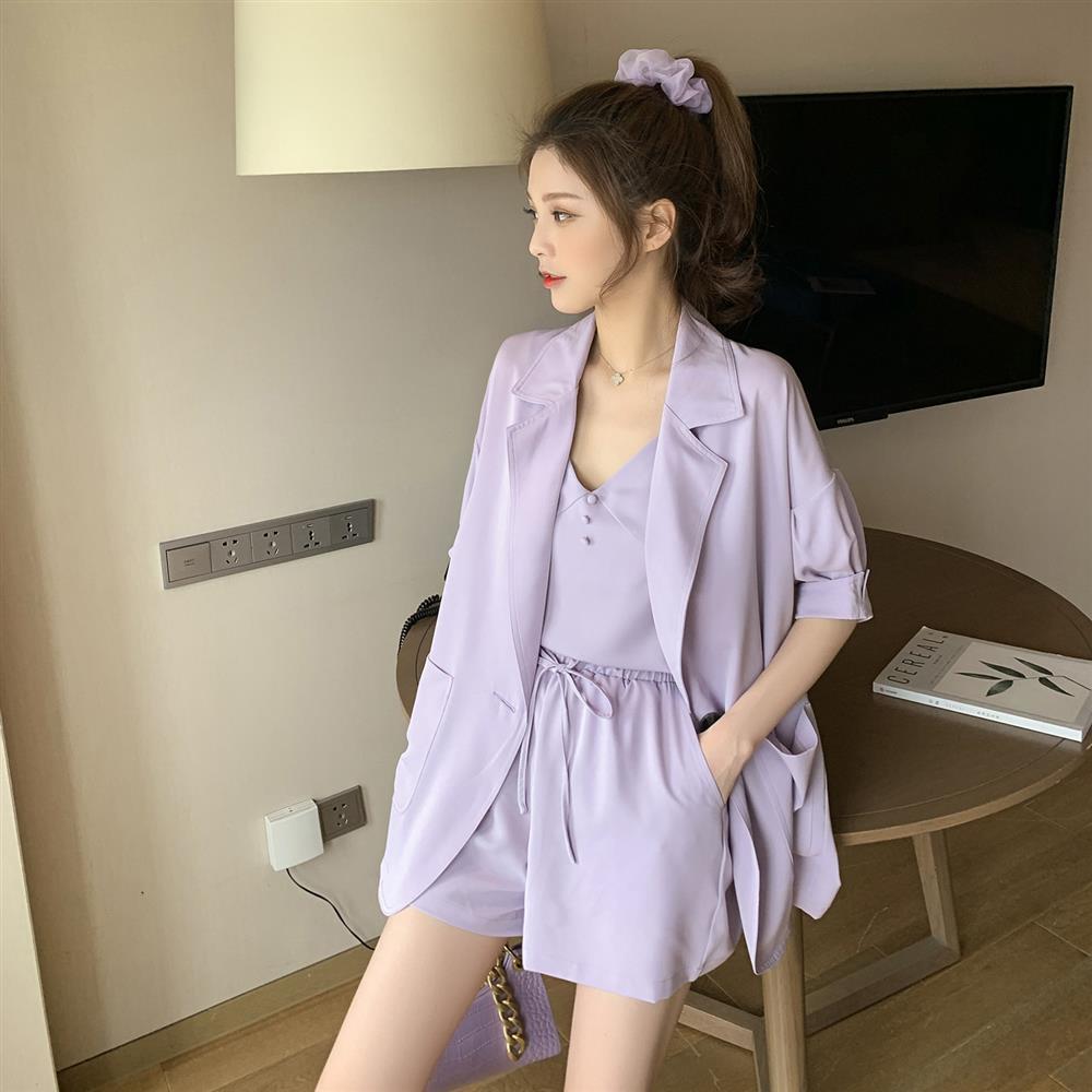 Suit Suit Female 2020 New Korean Version Fashion Temperament Solid Color Small Suit Drape Casual Pants Three-piece Suit