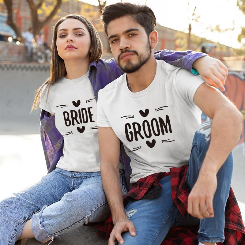 2019 MVUPP BRIDE GROOM Letter Printing Couples T Shirt For Lovers Clothes Summer Cotton Tops Husband Wife Femme Funny Clothing