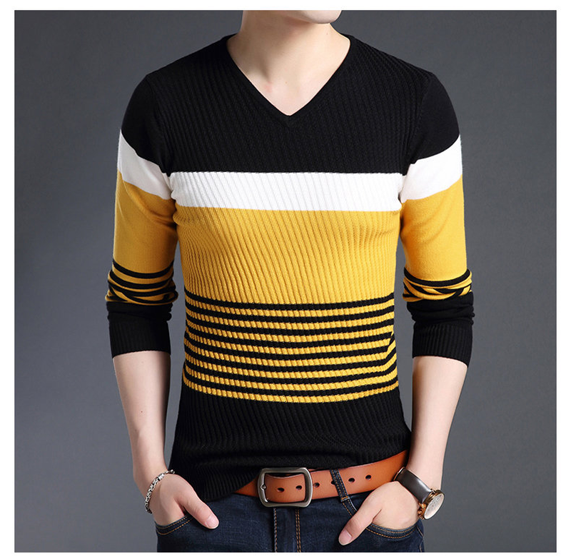 Zogaa 2020 Sweaters Thick Warm Pullovers Men Casual Striped V-Neck Sweater Men Clothing Autumn Winter Knitwear Pullover Homme