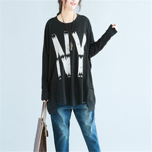 Medium-long plus size spring and autumn womens top basic shirt letter 200 t-shirt female